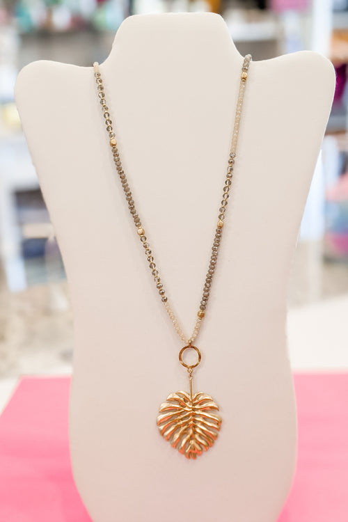 Tropical Leaf Bead Necklace