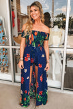 Tropical Islands Floral Print Maxi Romper - Navy