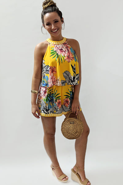 Tropical Paradise Floral Print Romper - Yellow