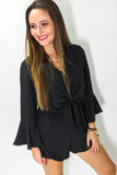 Trust In Me Bell Sleeve Romper - Black