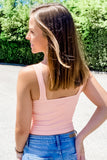 V-Neck Ribbed Crop Top - Peach Blush