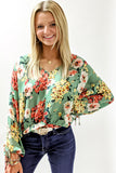 Vibrant Florals Puff Sleeve Top - Sage Mix