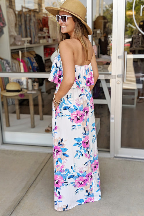 Vibrant Spring Floral Print Maxi - Ivory