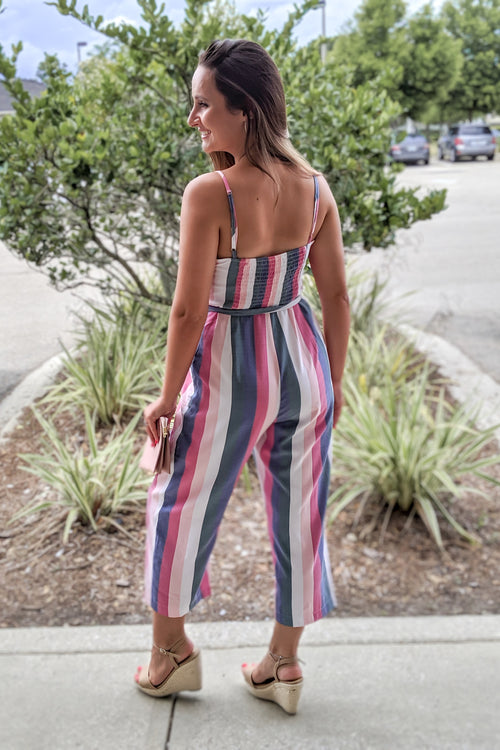 Vivid in Stripes Sleeveless Jumpsuit - Pink