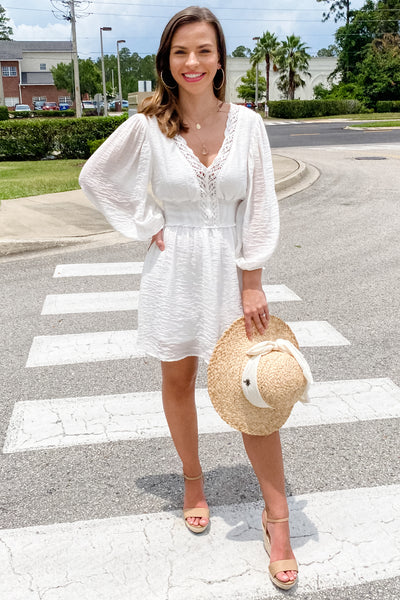 Waiting for Love V-Neck Bubble Sleeve Dress - Off White