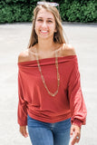 Walk With Me Off Shoulder Top - Marsala