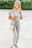 Walk My Way Off Shoulder Striped Jumpsuit - Sage