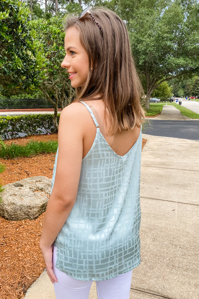 Warm Breezy Days Geo Print V-Neck Top - Seafoam