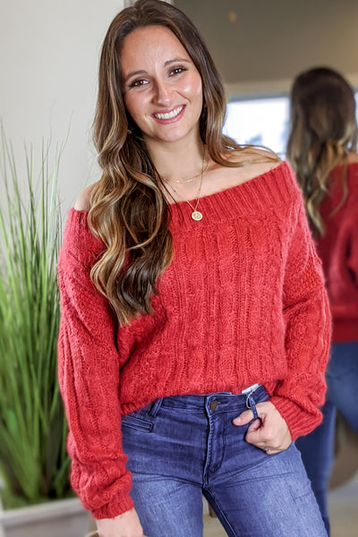 Warm Fuzzy Feeling Cable Knit Sweater - Tomato