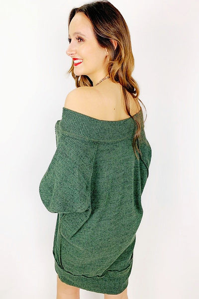 Warm Me Up Sweater Dress - Olive