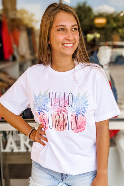 "Watercolor Pineapples ""Hello Summer"" Graphic Tee - White"