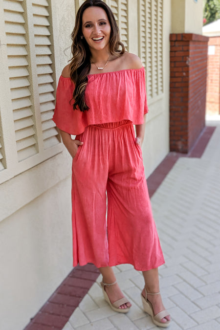 Graceful Elegance Woven Jumpsuit - Wine