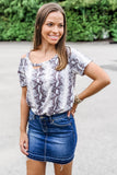 Wild For You Short Sleeve Snake Print  Cutout Neck Top - Gray