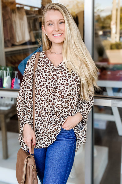 Wild at Heart Leopard Print Puff Sleeve Top - Ivory