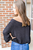 Winter Lover Off Shoulder Knit Sweater - Black