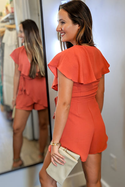 Wrapped & Ruffled Sleeveless Romper - Dusty Coral