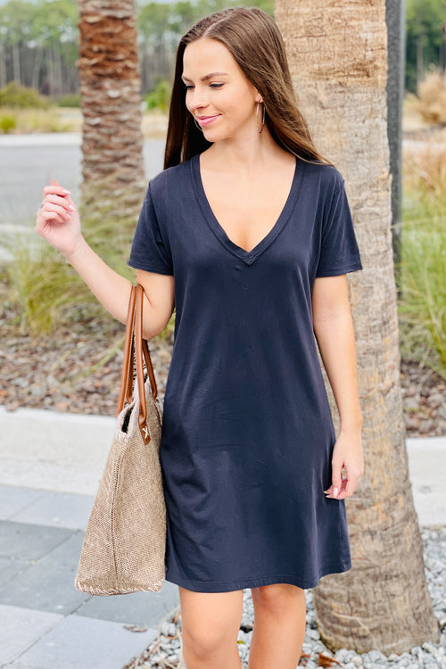Z Supply: Organic Cotton T-Shirt Dress - Washed Black