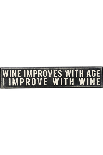Box Sign - Wine Improves