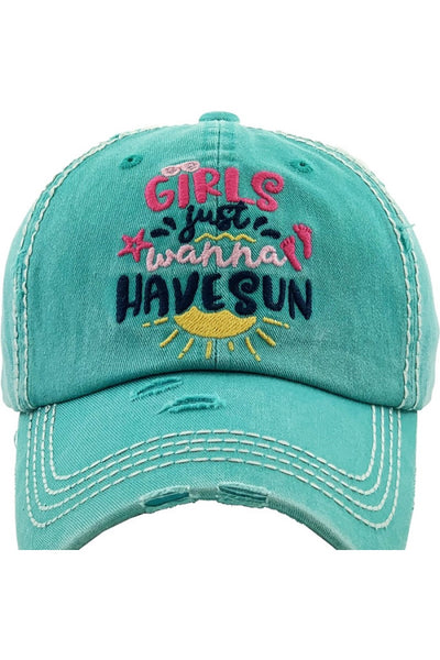 """Girls Just Wanna Have Sun"" Embroidered Cap - Turquoise"