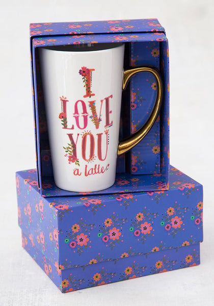 Love You A Latte Gold Handled Mugs