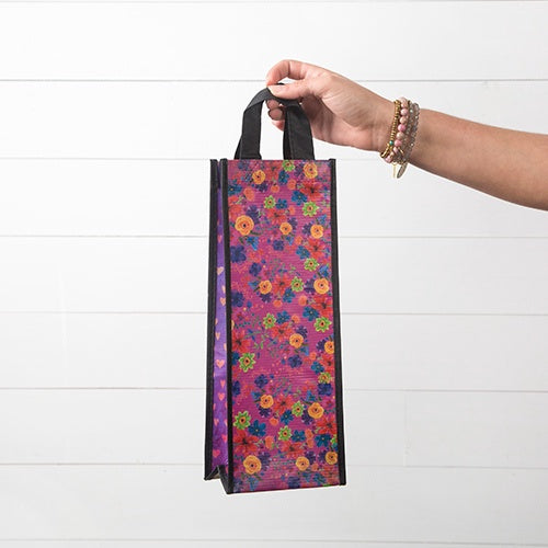 Red Floral Hearts Wine Recycled Bag
