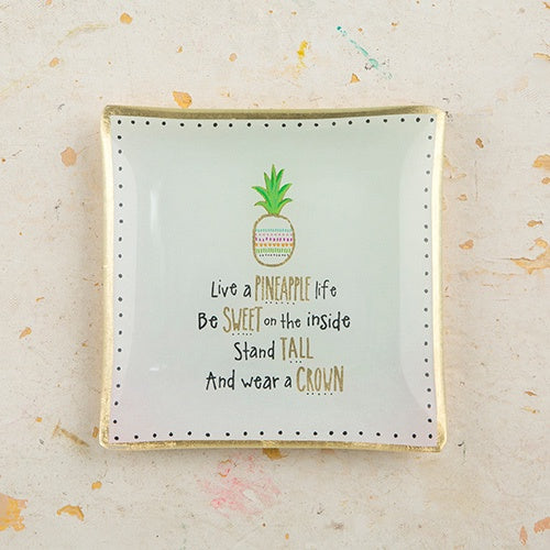 Live a Pineapple Life Square Glass Tray