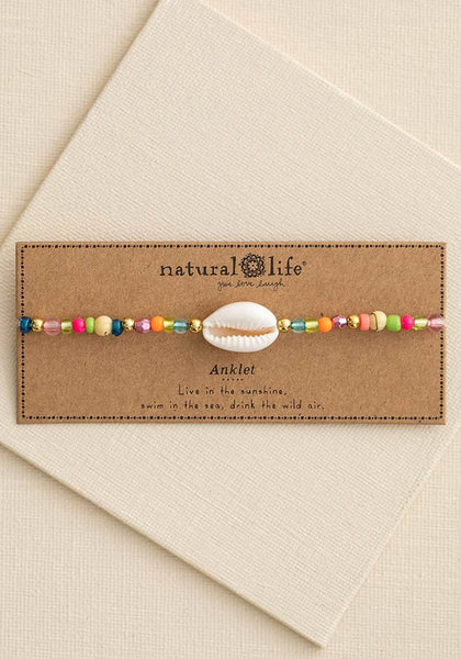 Beaded Charm Anklet Shell - Natural Life