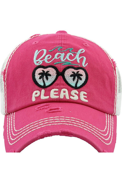 """Beach Please"" Embroidered Trucker Cap - Hot Pink"
