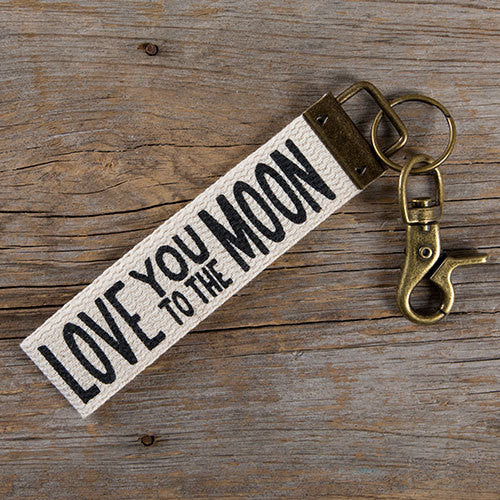 """Love You to the Moon"" Canvas Key Fob"