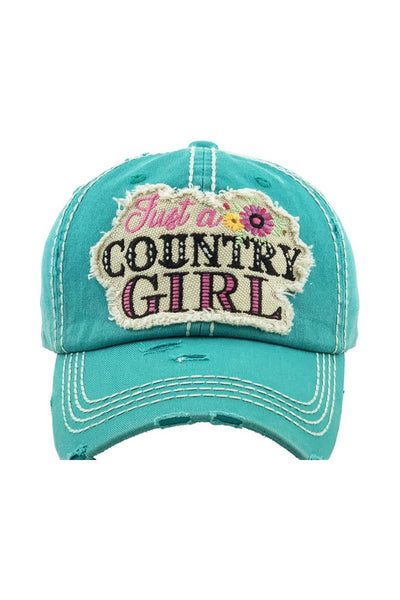 """Just a Country Girl"" Patchwork Cap - Turquoise"