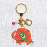 Glitter & Gold Key Chain - Be Happy Elephant