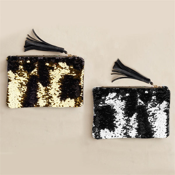 Reversible Sequin Pouch