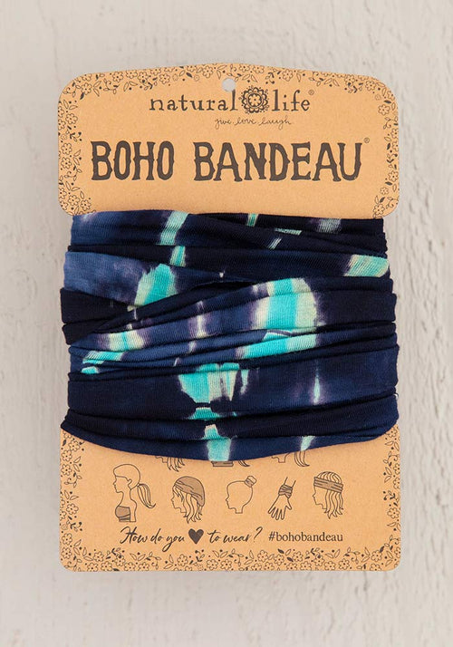 Turquoise Navy Tie-Dye Boho Bandeau - Natural Life