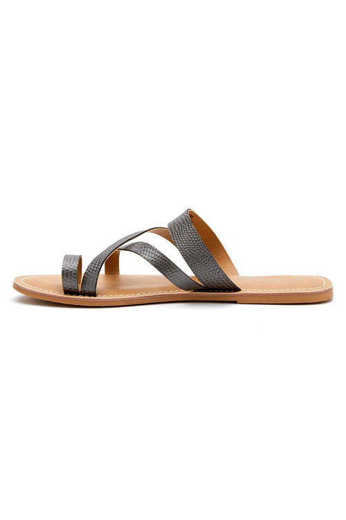 Matisse: Catalina Leather Slide Sandal - Pewter
