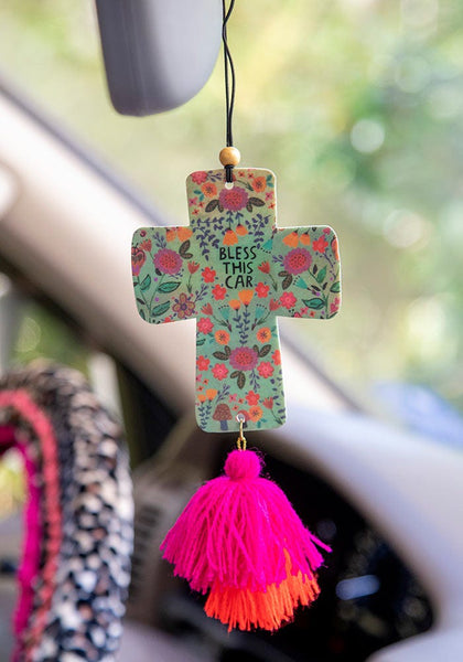 Cross Bless This Car Air Freshener - Natural Life