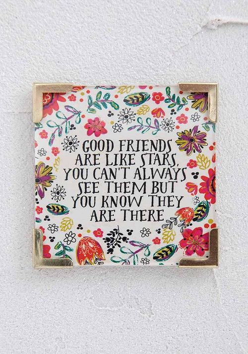 Good Friends Are Stars Corner Magnet - Natural Life