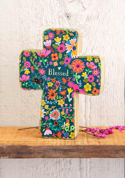Blessed Small Wood Cross - Natural Life