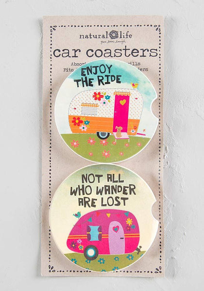 Campers Set of 2 Car Coasters - Natural Life