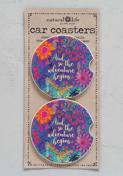And So The Adventure Begins Set of 2 Car Coasters - Natural Life