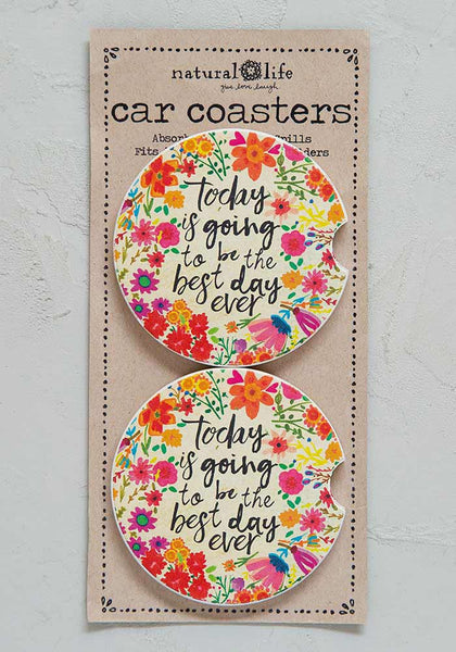 Best Day Ever Set of 2 Car Coasters - Natural Life