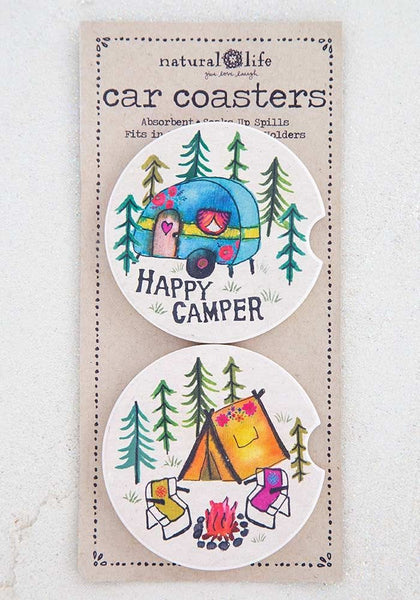 Happy Camper Set of 2 Car Coasters - Natural Life