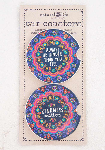 Kindness Set of 2 Car Coasters - Natural Life