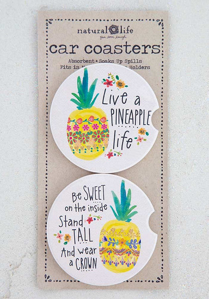 Pineapple Set of 2 Car Coasters - Natural Life