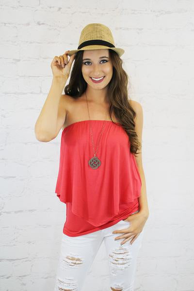 The Perfect Fit Strapless Top - Coral