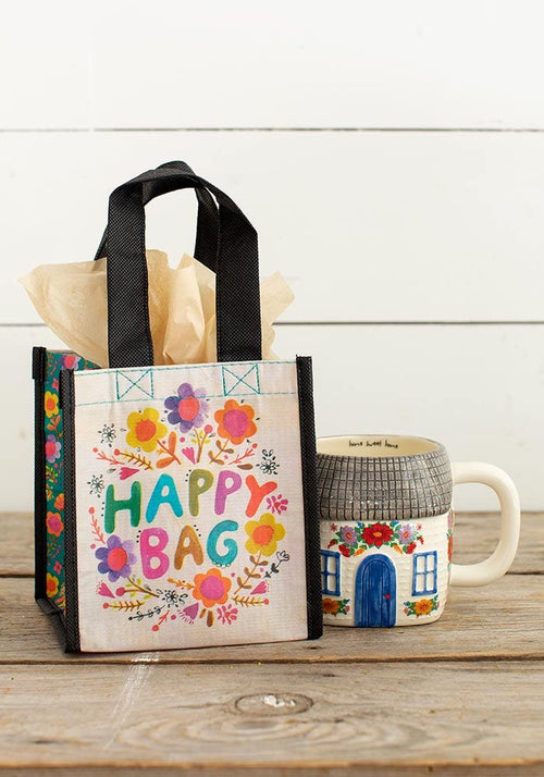 Small Multicolored Floral Happy Bag - Natural Life