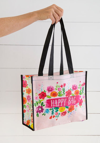 Pink Floral Large Happy Bag