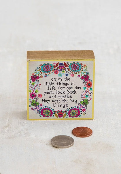 Enjoy Little Things Tiny Block Keepsake - Natural Life