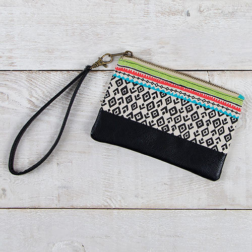 Black Tribal Print Gypset Wristlet