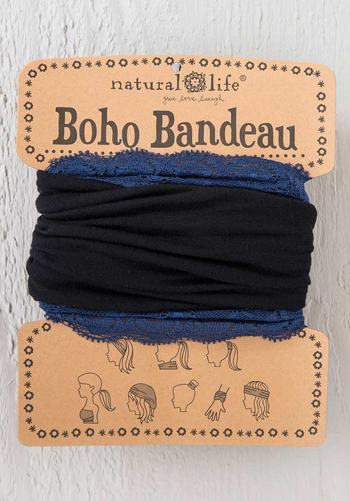 Black Navy Lace Boho Bandeau