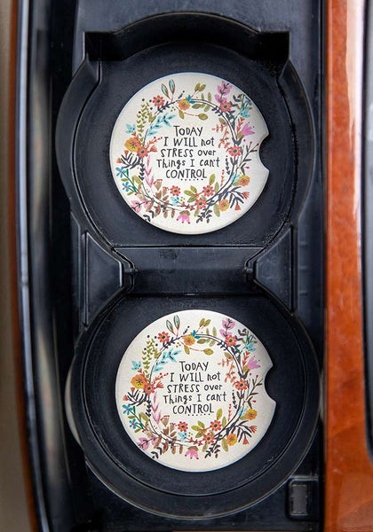 Will Not Stress Set of 2 Car Coasters - Natural Life